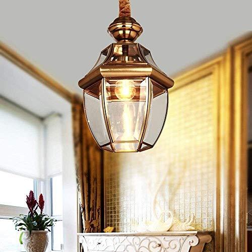 Vinteen Victoria antiguo latón colgante lámpara lámpara lámpara de lámpara E27 vintage cobre antiguo techo linterna led vidrio vida romm colgando lámpara barra corredor jardín balcón iluminación de il