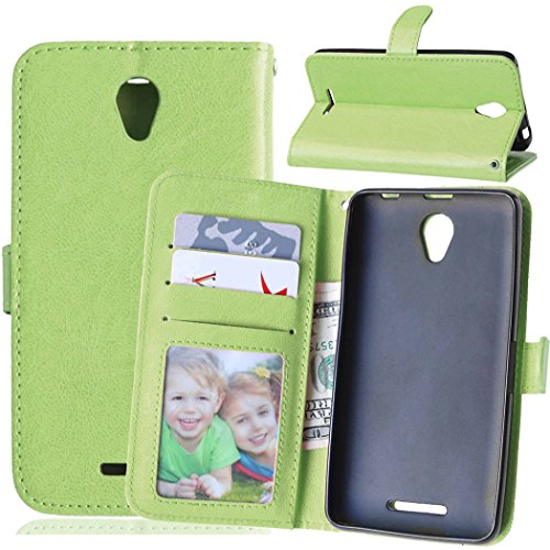 Qiaogle Phone Case - PU Leather Stand Wallet Flip Case Cover for Lenovo A5000 (5 inch) - DK07 / Green Classic Solid Color Business Style
