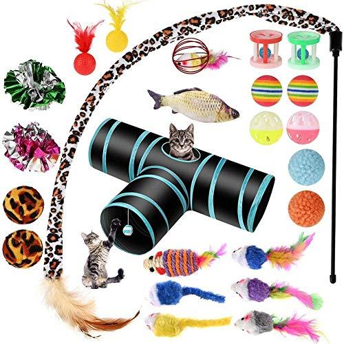 Genhoo Katzenspielzeug Set mit Katzentunnel, 27 Stück Katzen Zubehör Katzenspielzeug Fisch, Katzen Ball, Katzenspielzeug Maus, Katzenangel,Katzenspielzeug Feder, Katzentonne Große Katzen Toys Set