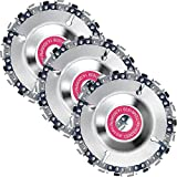 3 Pieces 5/8 Inch Wood Carving Chain Disc 4 Inch 22 Teeth Saw Blade Grinder Wood Carving Disc for 4 Inch/ 4-1/2 Inch Angle Grinder Grinding Shaping Attachment Circular Chainsaw Wheel