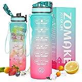 ZOMAKE Botella de agua motivacional de 32 onzas con marcador de tiempo y filtro extraíble, jarra de agua libre de BPA para fitness, gimnasio y deportes al aire libre