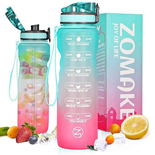 ZOMAKE Botella de agua motivacional de 1 L/32 oz con marcador de tiempo y colador, sin BPA Jarra de agua a prueba de fugas para deportes y fitness