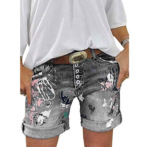 ORANDESIGNE Damen Jeansshorts Basic Waschung Jeans Bermuda-Shorts Kurze Hosen aus Denim für den Damen High Waist Denim Kurze Hose mit Quaste Ripped Loch Hotpants Shorts A Grau XXL