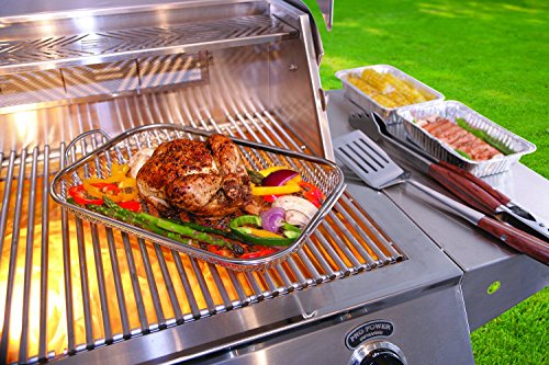 Mr. BBQ Stainless Steel Mesh Roasting Pan with Built in Stainless Steel Handles - Perfect for Cooking Vegetables, Stir Fry, Seafood and More - Great for Tailgating and Camping