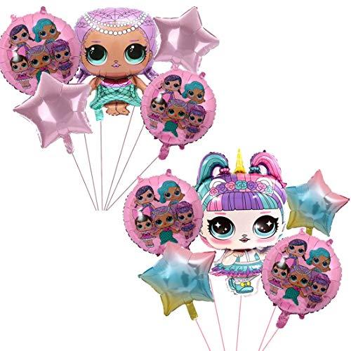 Paquete de Globos de Fiesta -YUESEN LOL globos de sirena de niña rosa, globos de papel de aluminio para fiestas, decoraciones de fiesta de cumpleaños se utilizan para fiestas de niñas(10pcs)