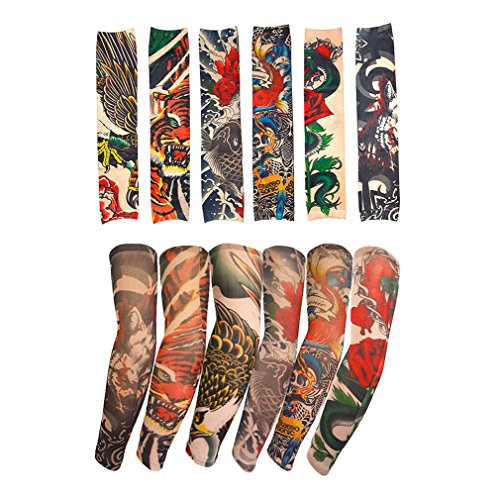 Medigy 6 Stück gefälschte temporäre Tattoo Ärmel Körper Kunst Sonnenschutz Strümpfe Zubehör in der Camouflage-Farben