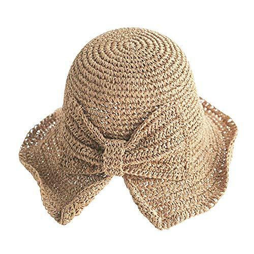 PACOLO, cappello da sole pieghevole largo, tesa larga e morbida, da donna, in paglia, estivo, da spiaggia, per viaggi, vacanze, accessorio decorativo, cachi, taglia unica
