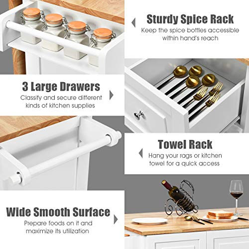 Giantex Kitchen Island Cart with Drop-Leaf Tabletop, Large Trolley Cart with Large Cabinet, 3 Drawers, Spice Rack, Towel Rack, Kitchen and Dining Room Utensils or Tableware Organizer on Wheels (White)