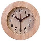 不二貿易 置き時計 直径10cm ナチュラル 目覚まし アラーム機能付き ライト付き ラウンド 36699