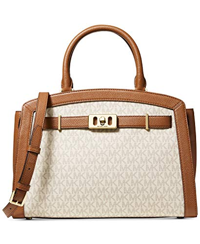 "MICHAEL Michael Kors Karson Signature Satchel Medium sized bag; 12-3/4""W x 9-3/4""H x 5-1/2""D (width is measured across the bottom of handbag); 2.03 lbs. approx. weight 4-1/2""L handles; 19""L to 21""L adjustable removable strap Zip closure , Gold-tone e..."