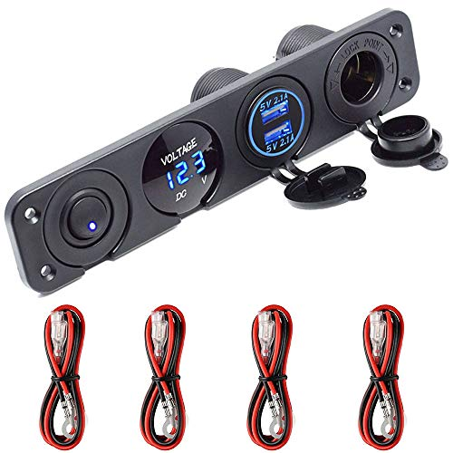 Meipire Dual USB Buchse Ladegerät 2.1A + 2.1A + LED Voltmeter + 12V Steckdose + ON-OFF Kippschalter Vier Funktionen Panel für Auto Boot Marine RV Truck Camper Fahrzeuge GPS Usw (Blau)
