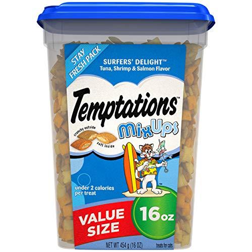 Temptations MixUps Crunchy and Soft Cat Treats Surfer's Delight Flavor, 16 Oz Tub