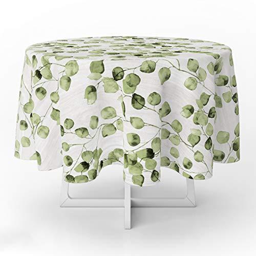 ORYX 5544071 Mantel Hule Redondo Hojas Verdes Impermeable Antimanchas PVC Ø140 cm. Uso Interior y Exterior