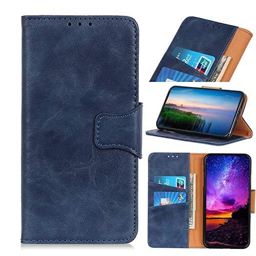 Dibujo Diseño de Portada Compatible con el caso de MOTO E6 Plus, soporte del folio de la caja, caballo loco textura PU billetera de cuero del caso con el encierro magnético ( Color : Blue )
