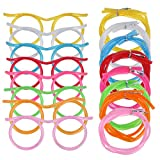 8PCS Silly Straw Glasses, Reusable Fun Loop Drinking Straw Eye Glasses, Novelty Eyeglasses Straw for Kids Party Annual Meeting Parties Birthday