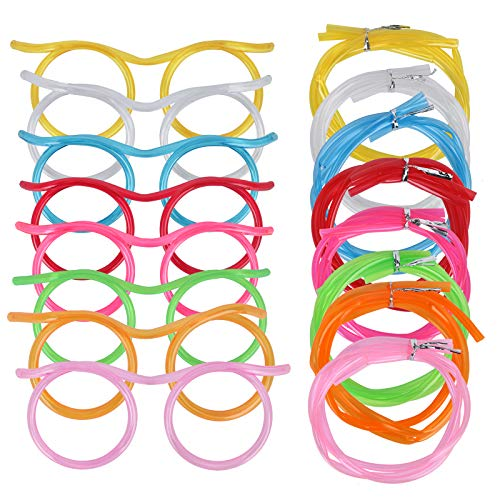 8PCS Silly Straw Glasses, Reusable Fun Loop Drinking Straw Eye Glasses, Novelty Eyeglasses Straw for Kids Party Annual Meeting Parties Birthday (8 Colors)