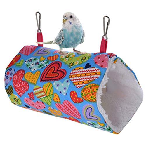 FFSM Pet Hammock Vogelkäfig Vogel Hut Ratte Hängematten Hut for Papageien, Wellensittiche, Sittich, Cockatiels Cat Hammock Warm-Vogel-Nest-Meerschweinchen Hammock Wellenpunkt, L plm46