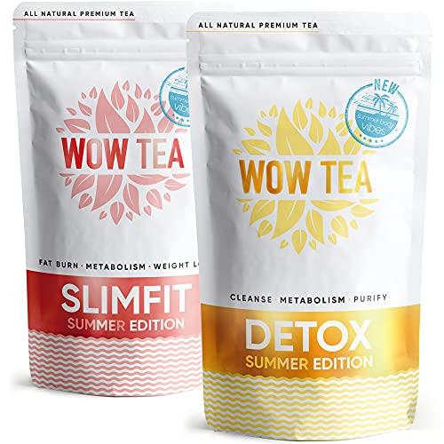 WOW TEA Sommer Körper Tee-Set: Sommer Detox & Abnehm-Tee | Detox-Kit mit 2 Kräutertees zur natürlichen Gewichtsreduktion | Schnell wirkende und anregende Tees für Körperreinigung | 300g, Made in EU