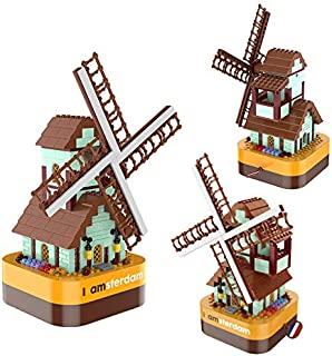 Riceblock Architecture Building Model Kit Toys, Retro Windmill House Set With Music Box,STEM Projects Building Toys For Ki...