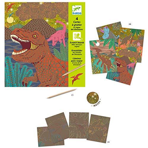 Djeco DJ09726 Kratzbilder When Dinosaurs reigned, Mehrfarbig