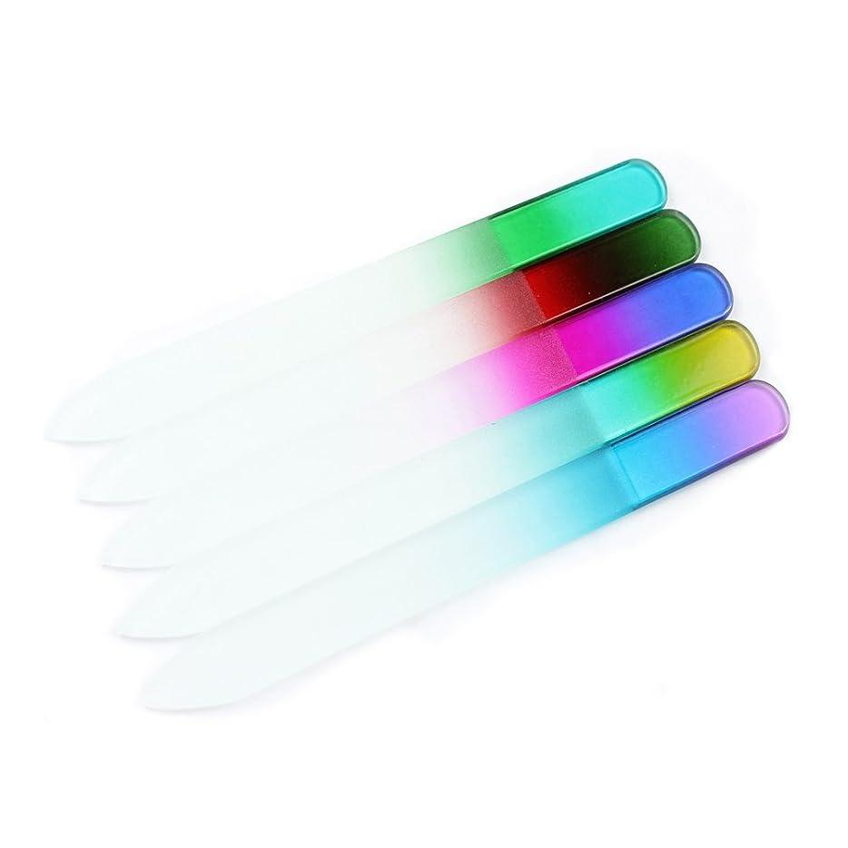 懸念したがって核FingerAngel 爪やすり ガラス製 5個セット 削りやすいネイルヤスリ 両面タイプ ネイルケア