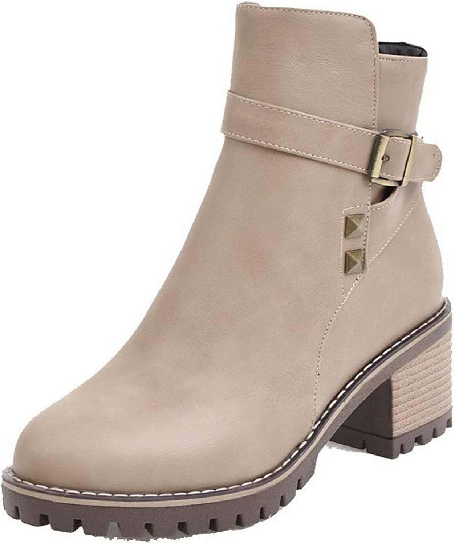 AllhqFashion Women's Pu Closed-Toe Solid Low-Top Kitten-Heels Boots, FBUXD127118