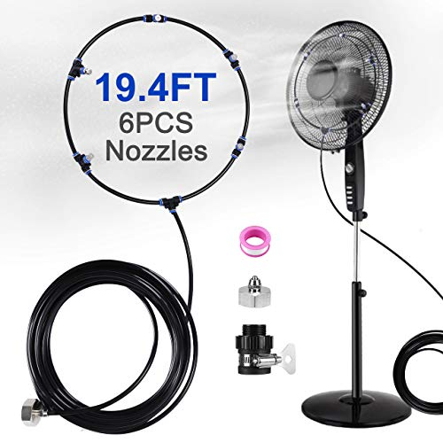 """Bearbro Outdoor Misting Fan Kit for a Cool Patio Breeze,Fan Mist Kit,19.68FT(6M) Misting Line+6 Copper Metal Mist Nozzles+a Connector(3/4""""),Connects to Any Mister Spray for Cooling Outdoor Fan Misters"""