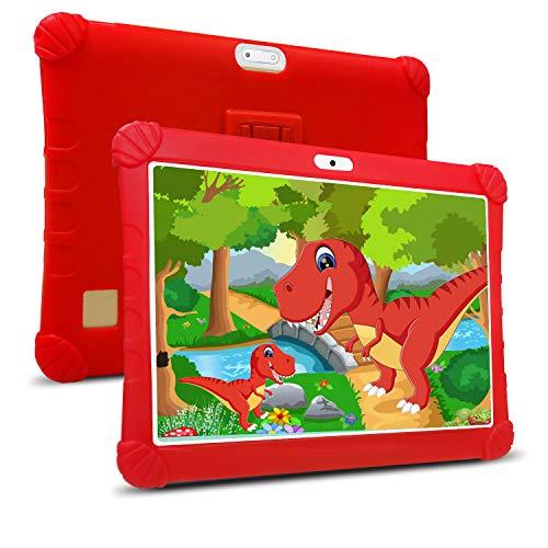 Tablet Bambini 10 Pollici con Wifi Offerte 4G,Tablet Offerte Android 9.0 RAM da 3GB 32GB ROM/128GB Quad-Core1.5 GHz Dual SIM DUODUOGO Tablet PC 10 Pollici con Netflix/OTG (rosso)