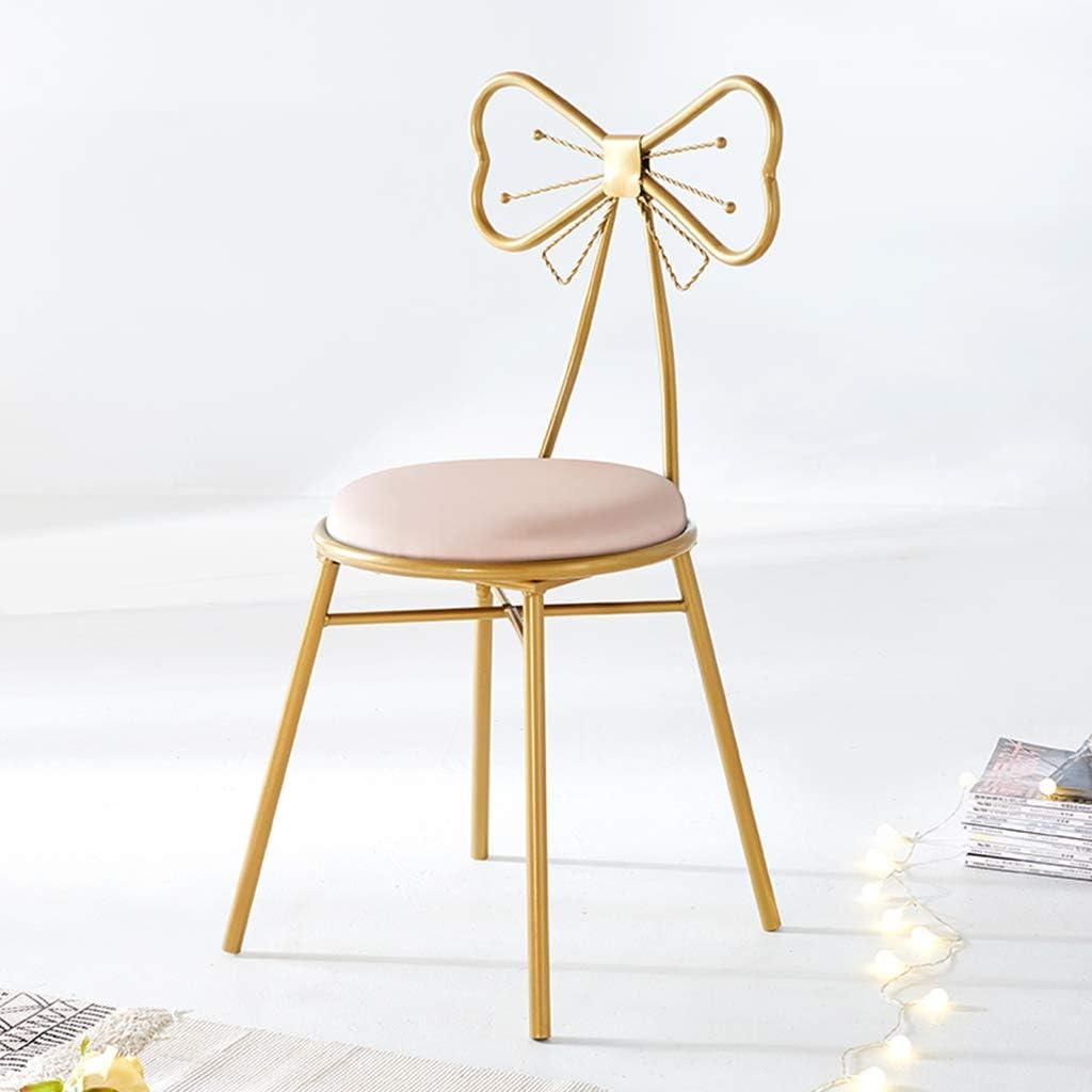 XIAOZHUZHU Sièges de Coiffeuse, Maquillage Chaise Fer à Repasser Tabouret Chambre Chaise en métal Loisirs Dossier Chaise Chaise à Manger Meubles décoratifs,Gris Pink