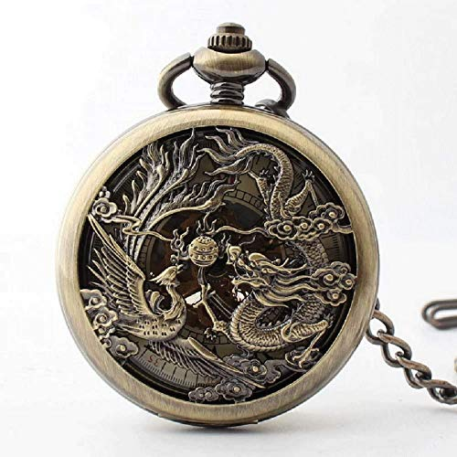 EURYTKS Longfeng Chingxiang Reloj de Bolsillo mecánico Marea Masculina Marea Femenina Flip Hueco acrílico Espejo Mesa Pareja Reloj de Bolsillo
