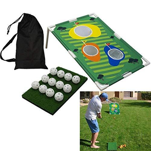 Set de juego de maíz de golf en el patio trasero con red desplegable para jugar al golf, incluye 12 pelotas de entrenamiento, 1 alfombrilla para golpear y 1 estante de tubo, red de entrenamiento de golf para jugar en interiores y exteriores