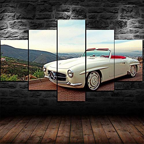 IKDBMUE 5 Pezzi Stampa su Tela Mercedes Vintage Classic Car Poster Stampa Juventus Flag Sportivi Dipinti su Tela Wall Stickers per Ragazzi Home Decor, Senza Cornice, 40X60 40X80 40X100cm
