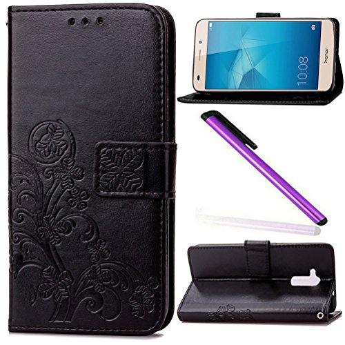 COTDINFOR Huawei Honor 5c Hülle für Mädchen Elegant Retro Premium PU Lederhülle Handy Tasche im Bookstyle mit Magnet Standfunktion Schutz Etui für Huawei Honor 5c Clover Black SD.