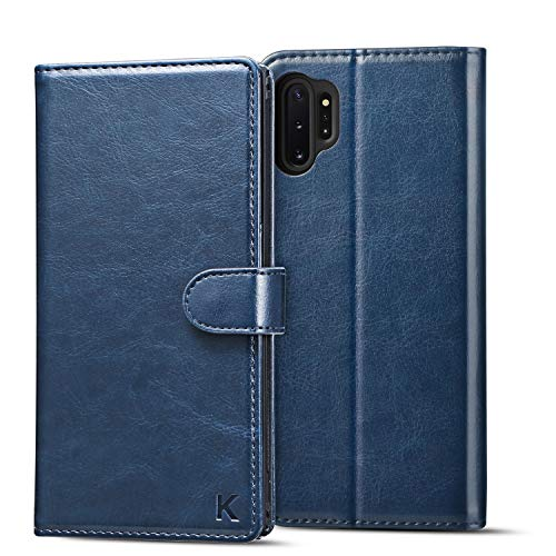 KILINO Samsung Galaxy Note 10+ Plus 5G Hülle [Kompatibel mit S-Pen][PU Leder][RFID Blocker][Schützt vor Stößen][Kartenfach][Standfunktion] Handyhülle Klapphüllen Schutzhülle Lederhülle Hülle (Blau)