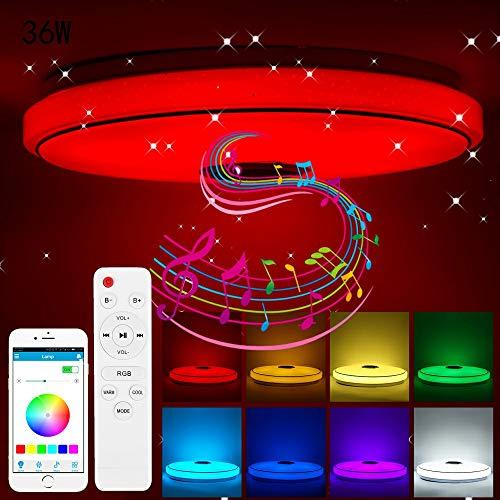 ACCEDE Led Musik Deckenleuchte mit Bluetooth Lautsprecher 36W, RGB Farbwechsel mit APP & Fernbedienung Dimmbar Modern Light Schlafzimmer Lampen Deckenlampe Party Lights