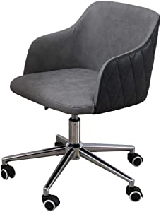 Modern Adjustable Low Back Armless Ribbed Task Desk Chair,Coffee Table Chair (B)