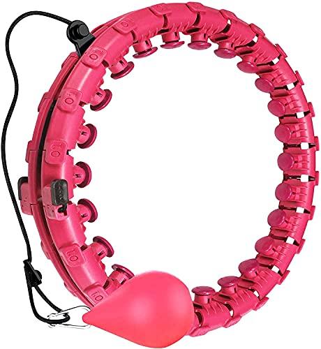 NVDXL Aro de Hola inteligente con peso – no se caerá, Smart 24 secciones desmontable Hola Hoop, adecuado para adultos y niños círculos de pilates (rosa, 24 secciones)