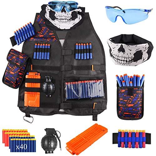 FUQUN Kit de Chaleco Táctico para Niños para Pistolas Nerf Serie N-Strike, Balas de Dardos de Recarga, Bolsa de Dardos, Clips de Recarga, Máscara Táctica, Muñequera y Gafas Protectoras para Niños