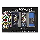 Christian Audigier Ed Hardy Love & Luck for Men 3 Piece Set with Eau de Toilette Spray + Deodorant Stick + Hair & Body Wash, 1.7 Ounces