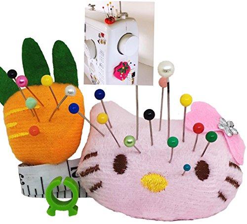 Cojín Pin para máquina de coser - Cojín Sticky Pin 2 piezas, organizador para agujas de bricolaje Pink Girl