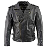 Xelement B7210 Men's 'Cool Rider' Black Vented Leather Motorcycle Jacket - Large