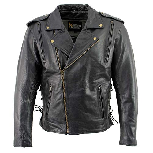 Xelement B7210 Men's 'Cool Rider' Black Vented Leather Motorcycle Jacket - X-Large