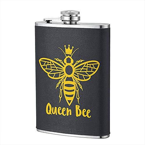 Miedhki Queen Bee Edelstahl Flachmann Tragbare Tasche Outdoor Flagon mit PU-Leder