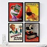 Nacnic Set di 4 Stampe artistiche Vintage. Vecchi manifesti pubblicitari. Quattro Immagini d'Epoca Donne straordinarie. 250 Grammi di Alta qualità.