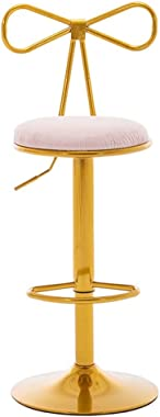 QQXX Modern Bar Stools with Bow Backrest - Adjustable Height - 360° Swivel - Gold Powder Coated Gas Lift and Footrest - Pink