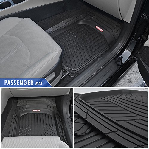 Motor Trend Black Deep Dish Rubber Floor Mats All-Climate All Weather Performance Plus Heavy Duty Liners Odorless (Black)