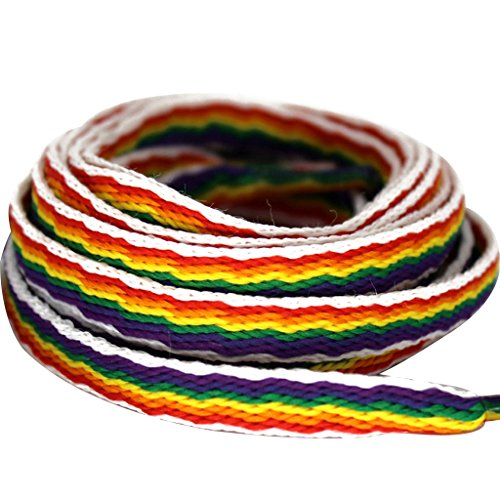 MiracleCat Flat Rainbow Pattern Shoelaces for Sneakers and Cavans Length 120cm