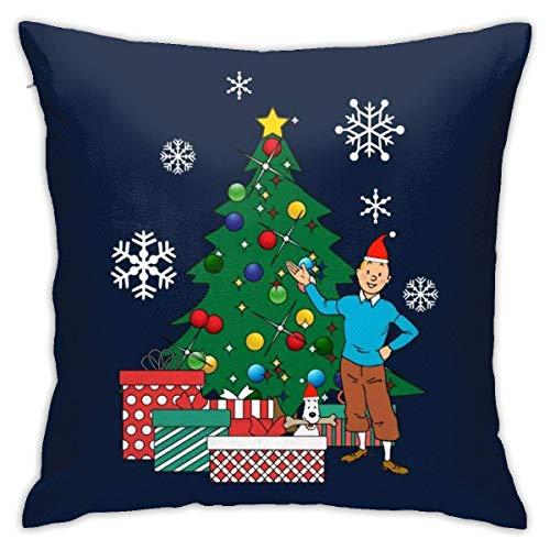 GSDGSDG Tintín y Snowy Around the Christmas Tree Funda de almohada de doble cara, impresión oculta con cremallera, hermosa funda de almohada de patrón impreso de 18 pulgadas