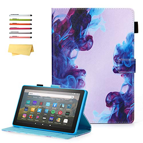 UUcovers All-New Kindle Fire HD 8 Case 2020 (10th Gen) & Fire HD 8 Plus 2020 (10th Gen) Folio Stand PU Leather Cover with Pencil Holder [Auto Wake/Sleep] for Amazon Fire 8 Inch Tablet, Watercolor Ink