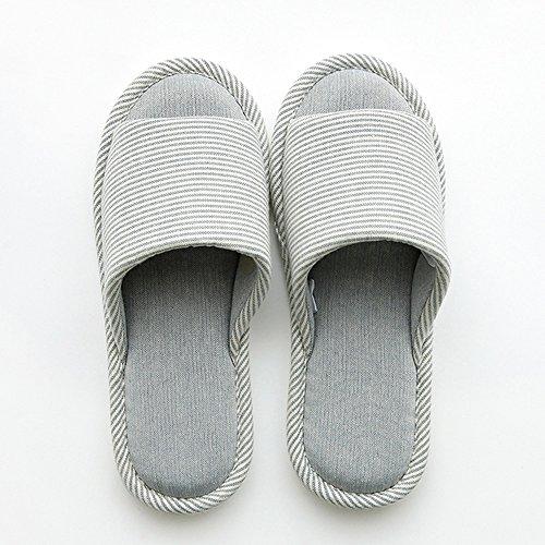 Confortable Chaussons de Lin à la Maison à la Maison Maison d'été féminin Chaussons à Fond Doux à la Maison Sol antidérapant Plancher d'automne Pantoufles en Coton Lin (4 Couleurs en Option